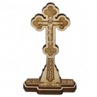 Wooden Engraved Cross Three Layer with Pedestal and Prayer (10.4x4.6)cm