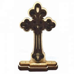 Wooden Engraved Cross Three Layer with Pedestal and Sticker Monastery Djunis (10.5x5.9)cm