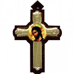 Wooden cross with sticker Lord Jesus Christ (3x2)cm