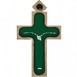 Wooden cross with sticker (2.7x1.6)cm