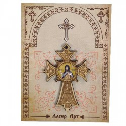 Wooden cross with sticker St. John the Baptist (5.6x4)cm - in the package