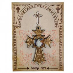 Wooden cross with sticker White Angel (5.6x4)cm - in the box