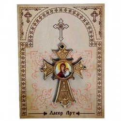 Wooden cross with sticker Virgin Mary (5.6x4)cm - in the package