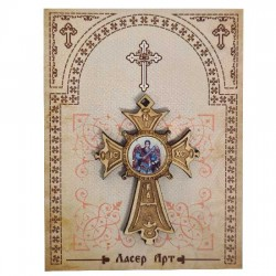 Wooden cross with sticker St. Archangel Michael (5.6x4)cm - in the package