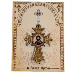 Wooden cross with sticker Lord Jesus Christ (5.6x4)cm - in the package