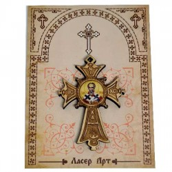 Wooden cross with sticker St. Nicholas (5.6x4)cm - in the box