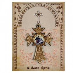 Wooden cross with sticker St. Georg (5.6x4)cm - in the package