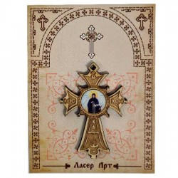 Wooden cross with sticker St. Petka - Paraskeva (5.6x4)cm - in the package