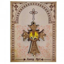 Wooden cross with sticker St. Basil of Ostrog (5.6x4)cm